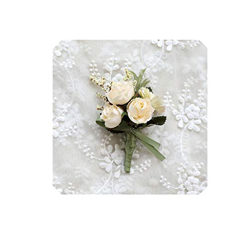 Edding Brooch Groom Brother Wedding Boutonniere Brooch Party Suit Decor Handmade Prom Accessories Girl Wrist Bridal Corsage,Ivory Boutonniere