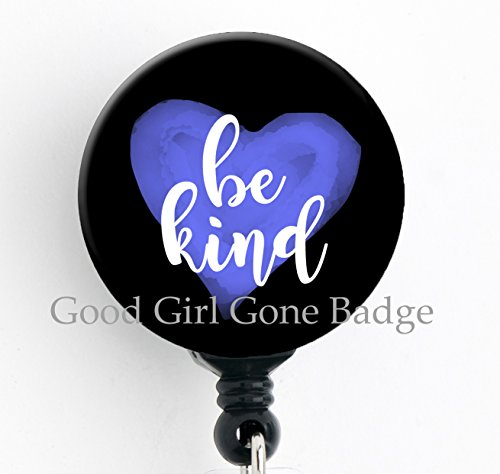 (Be Kind lnspirational - Retractable Badge Reel with Swivel Clip and Extra-Long 34 inch Cord - Badge Holder)