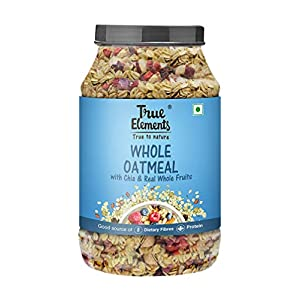 True Elements Whole Oatmeal with Chia and Fruits 1kg – Breakfast Cereal, Made with Rolled Oats, Healthy Food