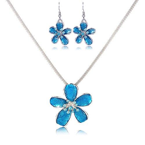 Brooch Earring Jewelry Set (Flower Necklace Set, Filigree Blue Enamel Flower Statement Pendant Necklace Brooch Earrings Jewelry Set)
