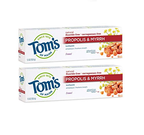 Tom's of Maine Antiplaque Fluoride-free Fennel Toothpaste with Propolis and Myrrh, 5.5 Ounce, 2 -