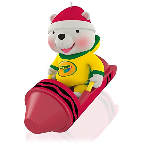 Ornament Crayola - Hallmark QXI2697 Crayola Color Me Happy Sledding Bear Ornament