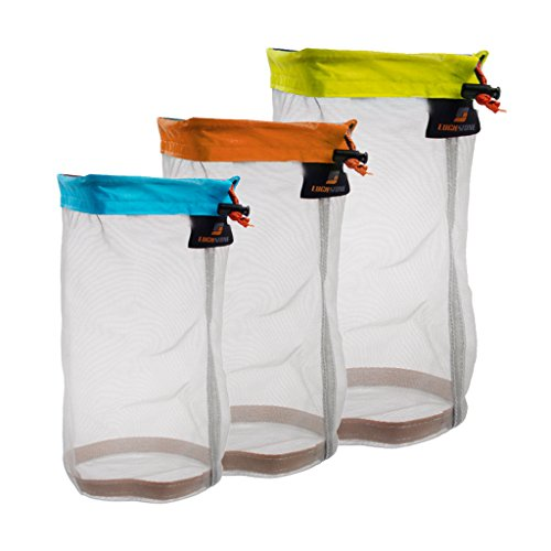 Jili Online Ultra Stuff Sacks Nylon Mesh Drawstring Storage Bag for Travelling Hiking, Set of 3