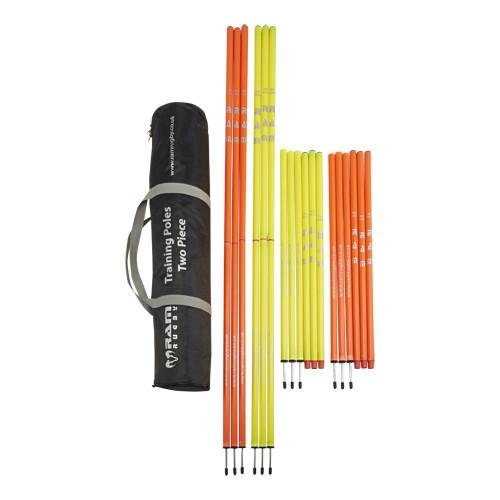 Ram Rugby Two Piece Speed and Agility Training Poles - Orange and Yellow - 6 Feet Tall