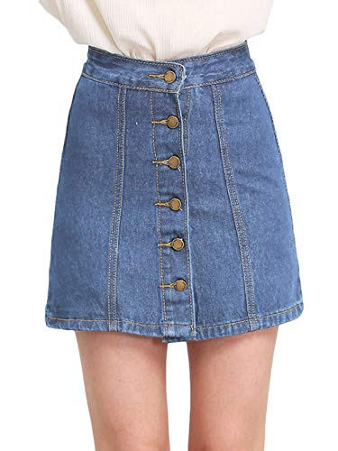 Front Denim Mini Dress - SheIn Women's Button Front Denim A-Line Short Skirt Meidum Blue+++