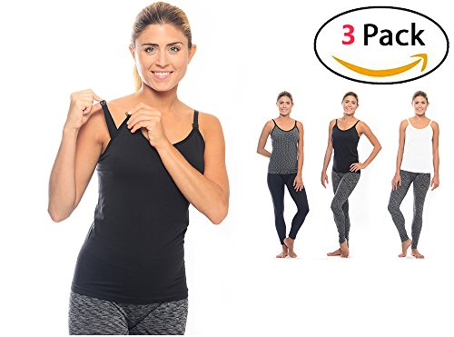 3 Pack 3 Style Clip-down Double Opening Maternity Nursing Tank Top and Cami Shirts Clothes For Mother's Breast Feeding (3 Pack-Large Size) (Double Opening Nursing Cami)