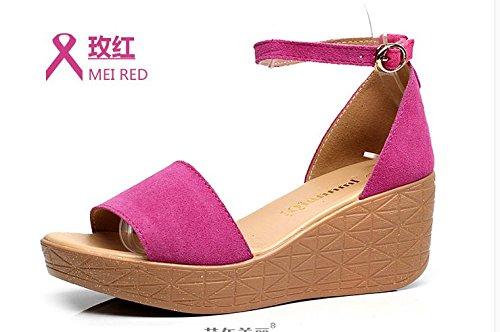 Xing Lin Sandalias De Mujer Cuña Sandalias De Cuero Verano Mujer Femenina Casual Sandalias Sandalias Zapatos Con Plataforma Sandalias Zapatos rose Red