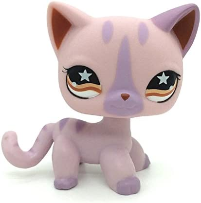 Littlest Pet Shop LPS Birma Bluepoint #66 Purple Siamese Cat Kitten Blue Eyes