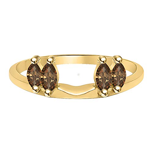 tusakha 0.50 Ctw Marquise Cut Created Smoky Quartz 14K Yellow Gold Plated Ladies Guard Anniversary Wrap Jacket 925 Sterling Silver ()