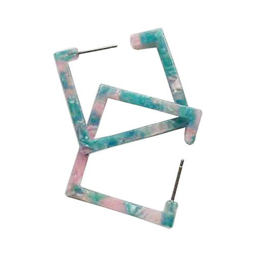 New Arrival Creative Acetate Plate Material Exaggerated Hrart Shape / Square Dreamlike Gradient Color Women/Girl's Charm Earrings Ear Studs (Square Shape-Baby Blue - Material Acetate