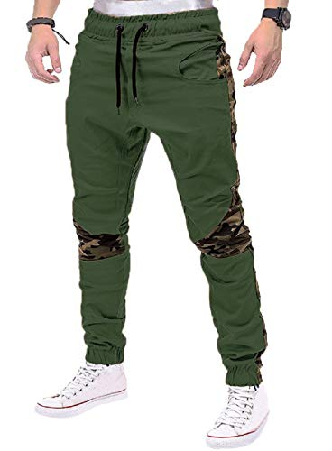 Percy Perry Men's Casual Slim Fit Stretch Sweatpants Twill Jogger Pants Olive Green M