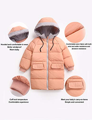 Baby Coat Cute Unisex Children Solid Windproof Kids Jacket Winter Overcoat Long Hooded Color Clothing BESBOMIG Red HxvgwqTx