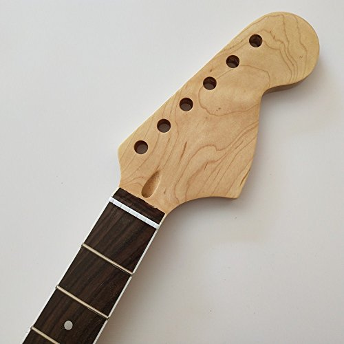 Big headstock maple 21 Frets guitar neck Replacement rosewood Fingerboard for ST style Electric Guitar ()