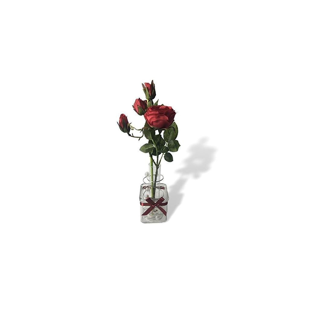 Banberry Designs Roses Floral Arrangement Red Roses In Glass Jar Artificial Flower Decoration Valentine S Day Flowers Silk Flower Arrangements