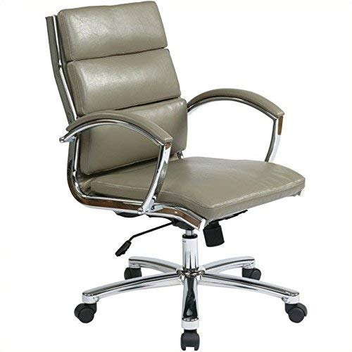 Office Star Faux Leather Seat and Mid Back  Contour Executive Chair with Padded Arms and Chrome Finish Accents, Smoke - Soft Office Wheel Star