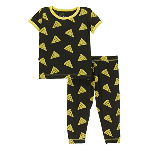 (Kickee Pants Little Girls and Boys Print Short Sleeve Pajama Set - Zebra Pizza, 8 Years)