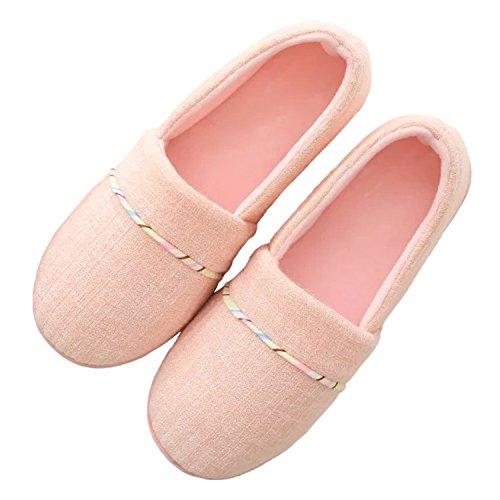 Bestfur Donne Comode A Maglia In Cotone Antiscivolo Pantofole Casa Scarpe Rosa-maglia