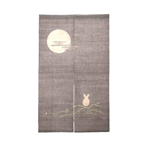 Handmade Japanese Noren Kitchen Door Curtain - Rabbit Looking at The Moon