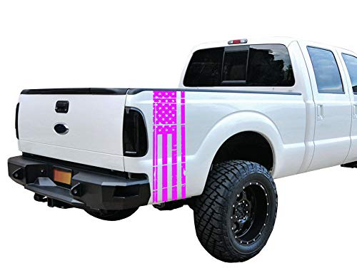 Pink Strobe Universal Distressed American Flag Vinyl Decal Set: Fits Any Dodge Ram Ford Chevy Nissan Toyota ()