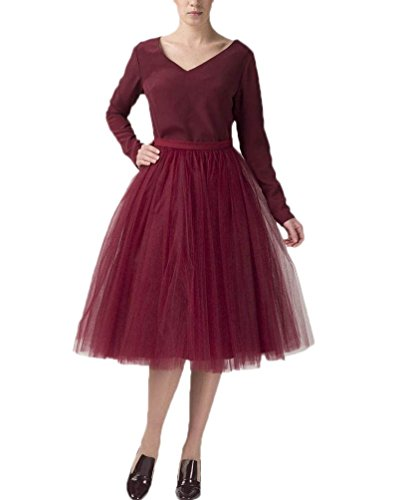 Belle House Lady's Burgundy Tulle Tutu Skirt 2019 Princess Cocktail Party Dress Midi Tutu Knee Length Skirts]()