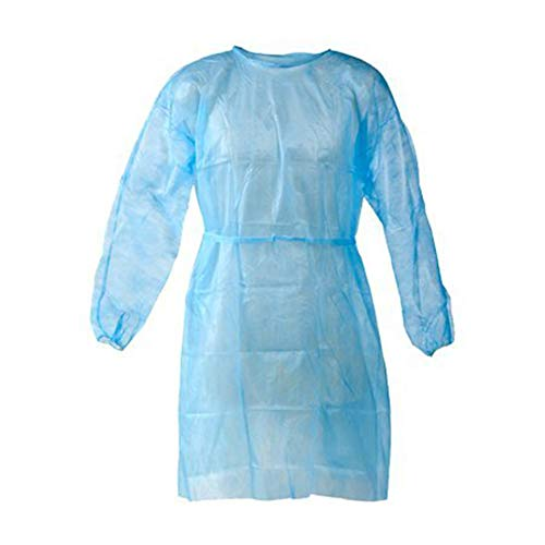 Disposable Isolation Gown Size: Universal Qty: 50 per Case (Lightweight Blue)
