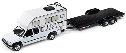 """2002 Chevrolet Silverado White with Camper and Car Trailer Limited Edition to 4720 pieces Worldwide """"Truck and Trailer"""" Series 1 1/64 Diecast Model Car by Johnny Lightning JLBT006 A from Johnny Lightning"""