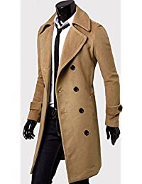Panegy Mens Winter Lapel Double Breasted Wool Blend Full Long Trench Coat Overcoat Khaki L