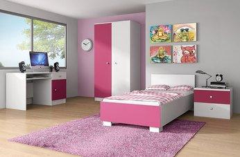 Chambre enfant complète contemporaine maelys coloris rose et blanc