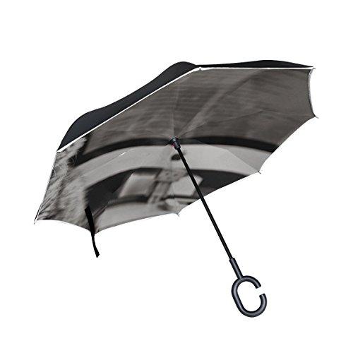 RH Studio Inverted Umbrella Kitten Cat Computer Keyboard Apple Mac Black and White Large Double Layer Outdoor Rain Sun Car Reversible Umbrella
