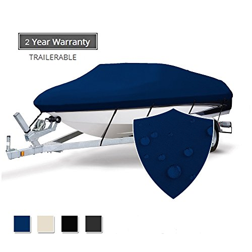 Seamander Heavy Duty 600D Polyester Waterproof Trailerable Runabout Boat Cover Fit V-hull Tri-hull Fishing Ski Pro-style Bass Boats, Full Size (Navy Blue, 17'-19'L Beam Width up to ()