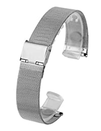 Top Plaza 18mm Stainless Steel Bracelet Wrist Watch Band Replacement Thin Mesh Metal Strap With Hook Clasp
