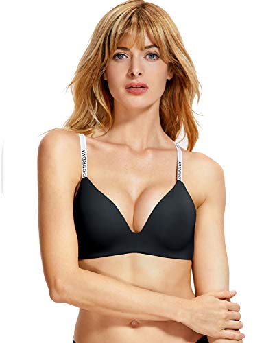 T-shirt Lightly Lined Bra (DOBREVA Women's Wirefree Lightly Lined Smooth Invisible T-Shirt Everyday Bra Black Wirefree 36D)