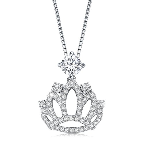 Choker Crown Pendant Necklace Made With Cubic Zirconia Sterling Silver 18 Inch Chain Best Choice Gift