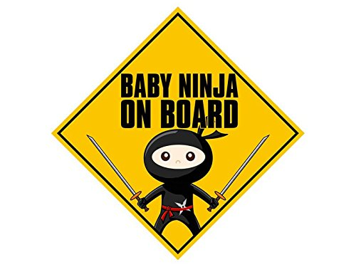 American Vinyl Baby Ninja On Board Sticker (Funny Safety car Caution Decal) -