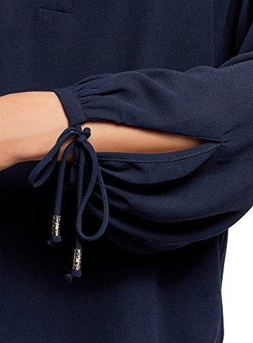 Donna oodji Larga Camicetta Polsini Collection 7900n con Laccetti sui Blu Bqq5Rxw