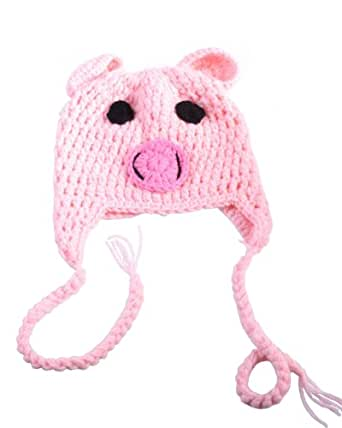 Newborn Toddler Crochet Piggy Pig Hat in Pink Baby Girl Boy Shower Party Costume Photo Props 0-12 Month