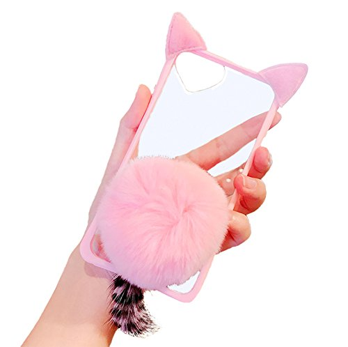 iPhone 6s/6 Case Cute Kitty Felines 3D Cat Ears Design Fluffy Ball with Plush Furry Tail Slim Flexible Crystal Silicone Soft Transparent TPU Case Cover for Apple iPhone 6s/6(iPhone 6s/6, Pink)