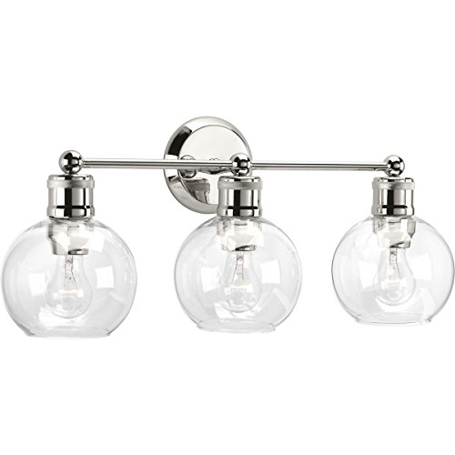 Progress Lighting P300051-104 Hansford Collection Three-Light Bath & Vanity, Polished Nickel