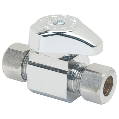 Brasscraft G2CR11X 3/8-Inch OD Compression x 3/8-Inch OD Compression Outlet, Chrome, Straight Valve, 1/4 Turn, Lead Free Compliant Item