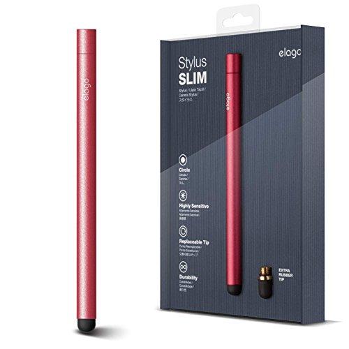 elago Stylus [Slim][Red Pink] - [Premium Aluminum ][Replaceable Tip][Extra Tip Included] - for iPad, iPad Pro, iPad Mini and iPhone