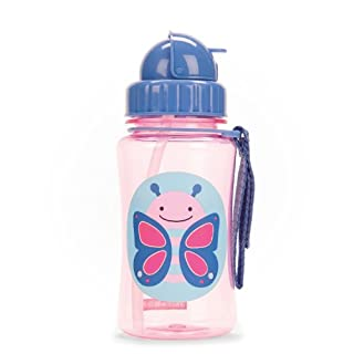 Skip Hop Toddler Sippy Cup Transition Bottle: Dishwasher-Safe Water Bottle with Flip Top Lid, Butterfly