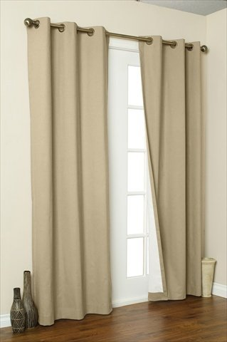 Commonwealth Home Fashions 70370-188-758-95 Thermalogic Insulated Solid Color Grommet Top Curtain Panel Pairs 95 in., Khaki