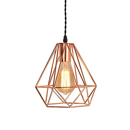 loft industrial iron cage. EFINEHOME Vintage Industrial Rose Gold Pyramid Metal Cage Pendant Light Hard-wired 1-light Ceiling Lamp Loft Rustic Home Decoration Iron D