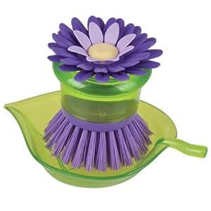 Boston Warehouse Flower Garden Brush Scrubber and Holder, Plum