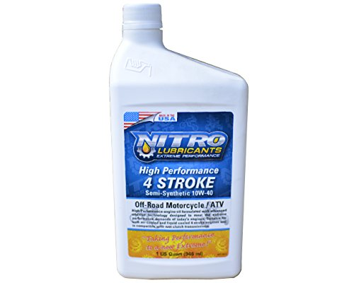 Nitro Lubricants High Performance 4-Stroke / 4-Cycle Engine Oil, 10w-40 Semi-Synthetic 4 Stroke Oil, Works With All Gas 4 Cycle Small Engines, Dirt Bike, Motorcycle, 4 Wheeler, Lawn mower Four ()