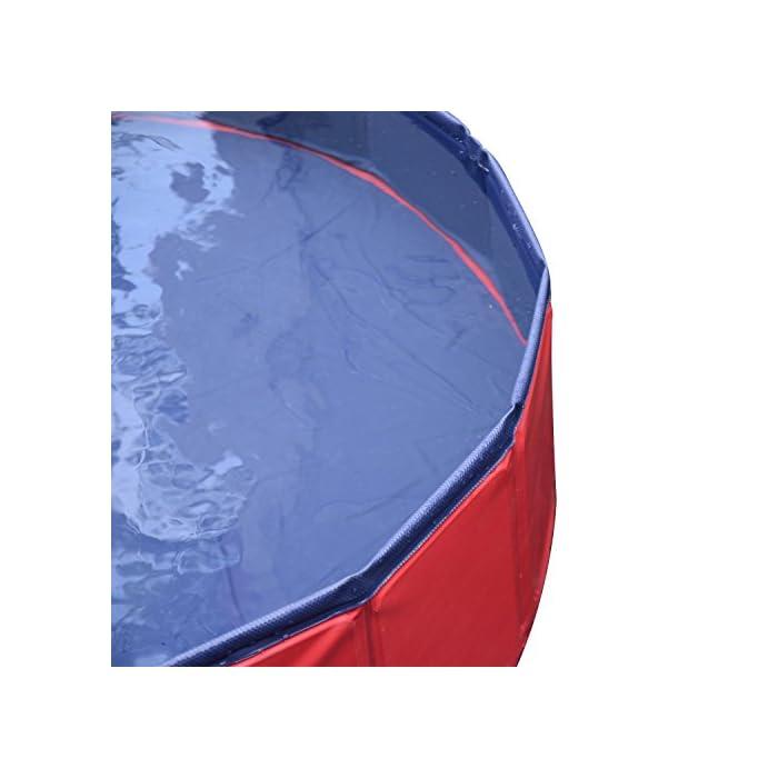 41gVt2XaryL Ideal para rinfrescarsi en días calientes – gracias a esta piscina el su perro se será un saco Apto para uso interior y exterior – Fabricada en material robusto y fuerte Válvula de desagüe del agua práctica para el drenaje – borde estable reforzado