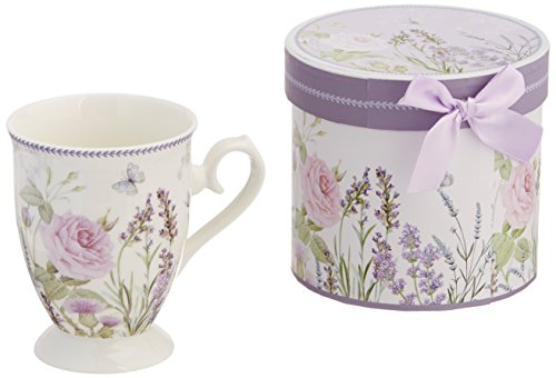 - Delton Products Matching Keepsake Box Porcelain Mug in Lavender and Rose Pattern