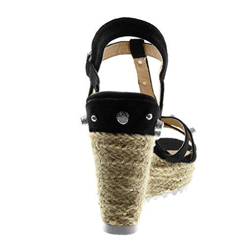 Angkorly Zapatillas Moda Sandalias Mules Correa de Tobillo Correa Plataforma Mujer Tachonado Multi-Correa Cuerda Plataforma 11.5 cm Negro