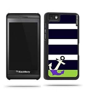 Stripes Pattern- Navy & White with Anchor Blackberry Z10 Case - For Blackberry Z10