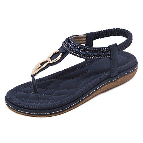 Flammi Women's Bohemian Rhinestone Summer Flat Sandals Soft Sole Beach Flip Flops T-Strap Sandals Slingback Thong Sandals (9 B(M) US, Dark Blue)